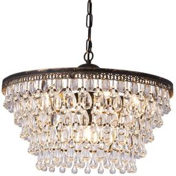 CASAINC 6-Light Copper Vintage Round Crystal Chandeliers | The Home Depot