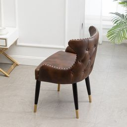 Nevis Mid-century Modern Faux Leather Tufted Nailhead Trim Accent Chair, Brown | Overstock