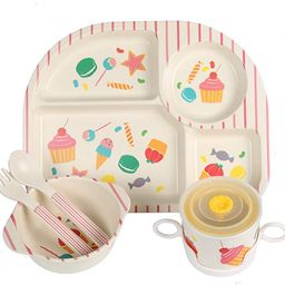 Kids 5 Pieces Bamboo Dinnerware Set,Divided Dinner Plate for Toddle&Children&Baby,Eco-Friendly Ba...   Amazon (CA)