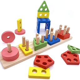 Euyecety Wooden Educational Toy Toddler Toy, Montessori Toy Sorting & Stacking Toy Wooden Puzzle ...   Amazon (CA)