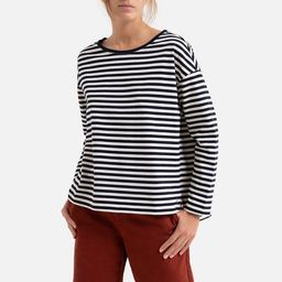 Striped Cotton T-Shirt with Boat-Neck | La Redoute (UK)