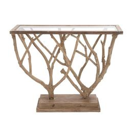 Unbranded 36 in. x 45 in. Natural Brown and Clear Glass Wood-Framed Rectangle Console Table with ...   The Home Depot
