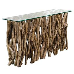 Uttermost Natural Teak Wood Console Table   Overstock