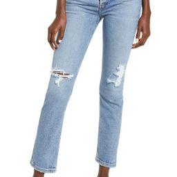 Riley Ripped Super High Waist Crop Straight Leg Jeans | Nordstrom