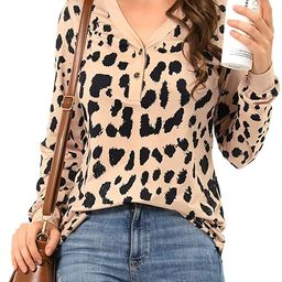 VOTEPRETTY Womens Long Sleeve Shirts V Neck Henley Button Tops Tee | Amazon (US)