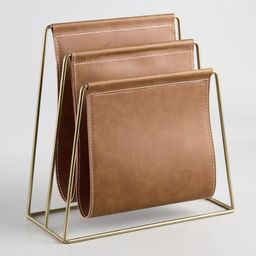 Brown Faux Leather Grayson File Holder | World Market