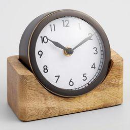 Round Black Clock With Wood Stand | World Market