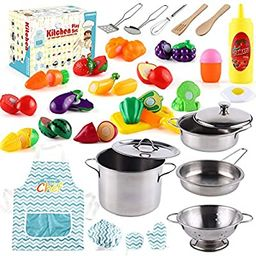 35 Pcs Kitchen Pretend Play Accessories Toys,Cooking Set with Stainless Steel Cookware Pots and P... | Amazon (US)