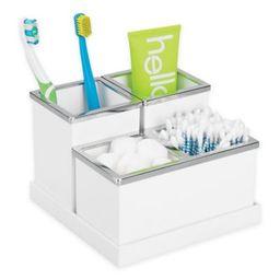 iDesign® Luci 4-Piece Vanity Organizer in White | Bed Bath & Beyond