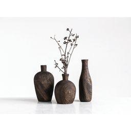 Brown Barron Paulownia Wood 3 Piece Table Vase Set   Wayfair North America