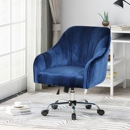Channeled Glam Velvet Home Office Chair with Swivel Base by Christopher Knight Home - Navy Blue, ... | Overstock