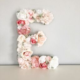 Flower Letter, Floral Letter, Blush Pink Nursery Decor, Mauve Nursery, Dusty Pink Nursery, Baby N... | Etsy (US)