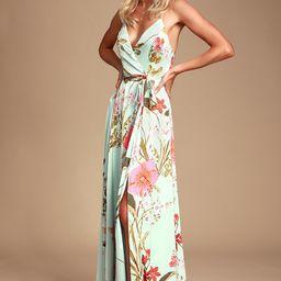Still the One Sage Green Floral Print Satin Maxi Dress | Lulus (US)