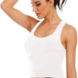 Tank Tops for Women Casual Sleeveless Racerback Crop Tank Sport Bra Workout Top with Shelf Built ... | Amazon (US)