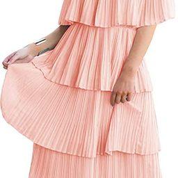 ETCYY Women's Off The Shoulder Ruffles Summer Loose Casual Chiffon Long Party Beach Maxi Dress   Amazon (US)
