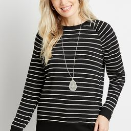 Black Stripe Crew Neck Pullover Sweatshirt | Maurices