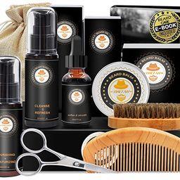 Upgraded Beard Grooming Kit w/Beard Conditioner,Beard Oil,Beard Balm,Beard Brush,Beard Shampoo/Wa... | Amazon (US)