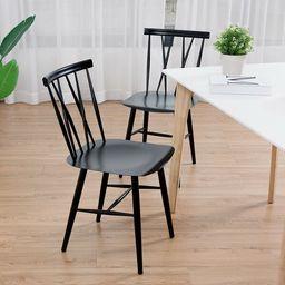 Goodin Metal Cross Back Side Chair in Black (Set of 2) | Wayfair North America