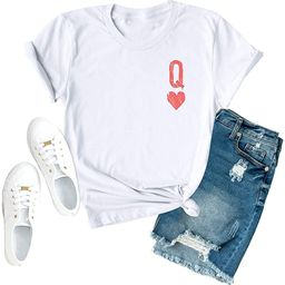 Anbech Womens Q of Hearts Shirt Cute Graphic Tees Casual Short Sleeve Crew Neck Tops | Amazon (US)