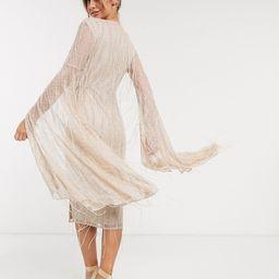 ASOS DESIGN kimono sleeve embellished wrap midi dress   ASOS (Global)