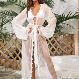 Lace Trim Sheer Mesh Belted Robe   SHEIN
