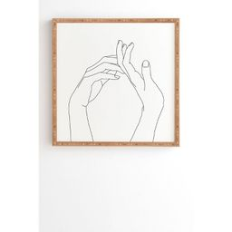 The Colour Study Hands line drawing Framed Wall Art Black - Deny Designs | Target