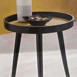New Wicker Rattan Side Table in Natural / Black Home   Etsy   Etsy (UK)