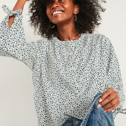 Oversized Floral-Print Corduroy Tie-Sleeve Blouse for Women   Old Navy (US)