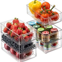Set Of 6 Refrigerator Organizer Bins - Stackable Fridge Organizers with Cutout Handles for Freeze...   Amazon (US)