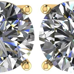 14k Gold Post & Sterling Silver 4 Prong Swarovski Pure Brilliance CZ Stud Earrings CZ 1.0 to 8.0c...   Amazon (US)