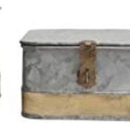 Creative Co-Op DF2376 Decorative Galvanized Lids & Brass Accents (Set of 3 Sizes) Metal Boxes, Si... | Amazon (US)