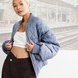 COLLUSION quilted bomber jacket in blue   ASOS (Global)