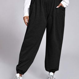Plus Slant Pockets Elastic Waist Sweatpants | SHEIN