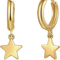 Fettero Gold Huggie Hoop Earrings Star Cross Lock Lightning Spike Evil Eye Fan Bead Dangle Drop S... | Amazon (US)
