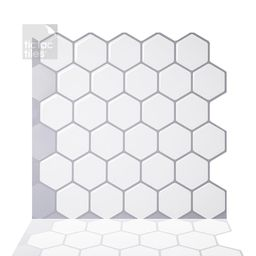 Tic Tac Tiles Hexa Mono White 10 in. W x 10 in. H Peel and Stick Self-Adhesive Decorative Mosaic Wal | The Home Depot