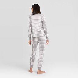 Women's Striped 100% Cotton Matching Pajama Set - Gray | Target