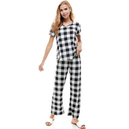 LOUNGEWEAR SET FOR WOMEN CHECKER PRINT PAJAMA | Walmart (US)