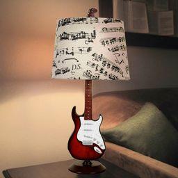 "24.5"" Guitar Desk Lamp/Shade, Base has a guitar design, Shade has music notes, Gift for music lov... | Walmart (US)"