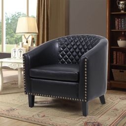 accent Barrel chair living room chair with nailheads and solid wood legs Black pu leather | Walmart (US)