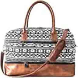 Canvas Weekender Bag, Overnight Travel Carry On Duffel Tote with Shoe Pouch (black) | Amazon (US)