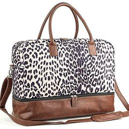 Canvas Weekender Bag, Overnight Travel Carry On Duffel Tote with Shoe Pouch | Amazon (US)