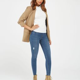 Distressed Ankle Skinny Jeans   Spanx