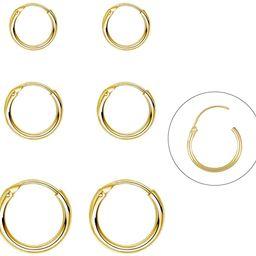 Silver Hoop Earrings- Cartilage Earring Endless Small Hoop Earrings Set for Women Men Girls,3 Pai... | Amazon (US)
