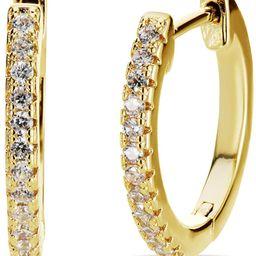 UPSERA 18k Gold Plated Cubic Zirconia Hoop Earrings 12 mm | Amazon (US)