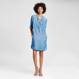 Women's Chambray Lace-Up Dress - Alison Andrews Denim Blue L   Target