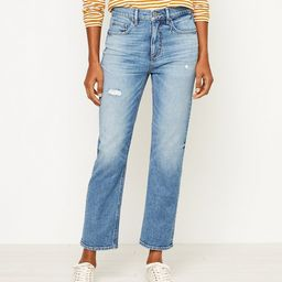 High Rise Straight Crop Jeans in Authentic Mid Indigo Wash | LOFT