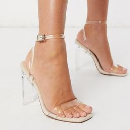 ASOS DESIGN Norton clear barely there heeled sandals | ASOS (Global)