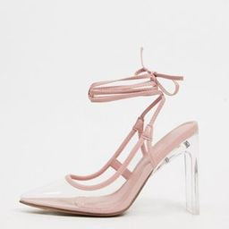 ASOS DESIGN Palm tie leg high shoes in beige and clear | ASOS (Global)