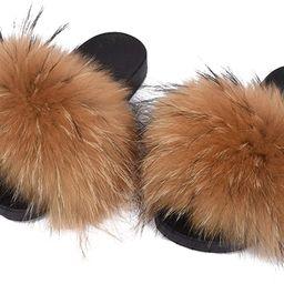 Valpeak Fur Slippers Slides for Women Open Toe Real Fox Fur Slippers Girls Fluffy House Slides Ou... | Amazon (US)