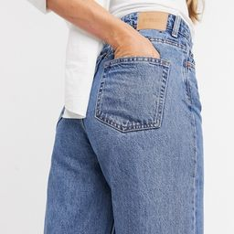Weekday Ace organic cotton high waist wide leg  jeans in mid blue   ASOS (Global)
